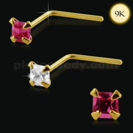 9K Gold L-Shaped Square Stone Nose Stud