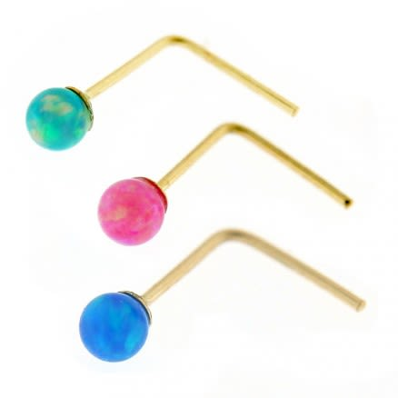 9K yellow Gold L-Shape Opal Stone Nose Stud 3 Pieces in Box