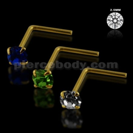 Clear,Sapphire and Green Color 9K Gold L-Shape Nose Pins in Mini Box