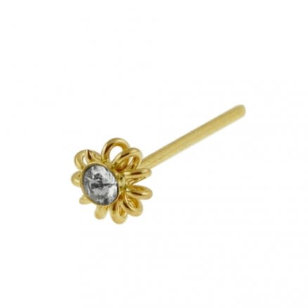 9K Gold Jeweled Coil Flower Straight Nose Stud