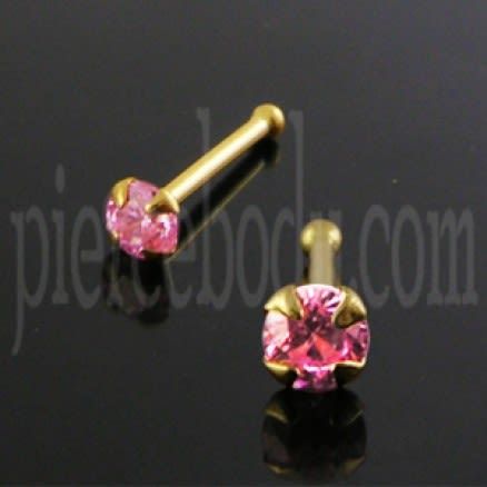 9K Gold Ball End Pink Jeweled Nose Pin