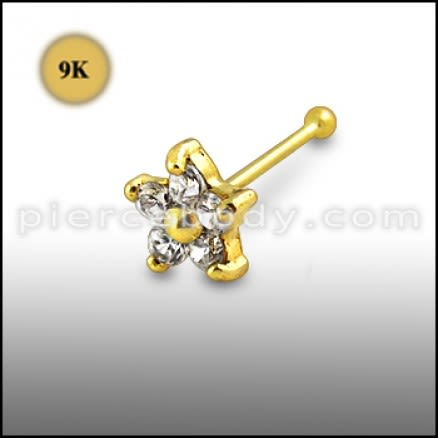9K Gold Jeweled Nose Pin