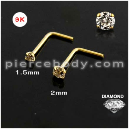9K Gold L-Shaped Nose Stud with Genuine DIAMOND