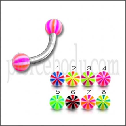 SS Eyebrow Banana Bar with Pink Mix Color UV Balls Body Jewelry