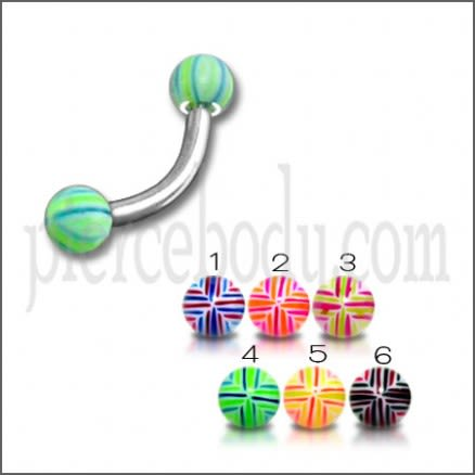 SS Banana Bar Lip Eyebrow Ring With Multi Color 3mm UV Balls