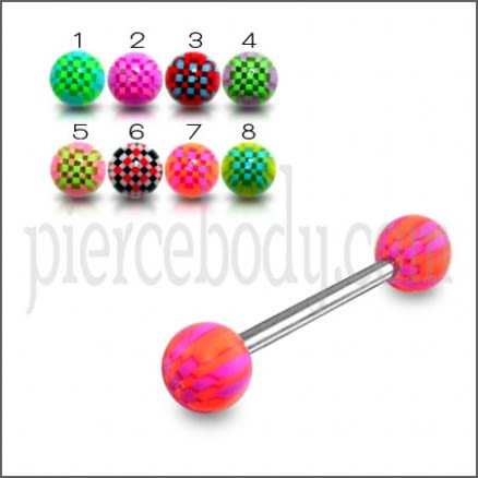 SS Tongue Barbell with Pink Checkered UV Acrylic Balls