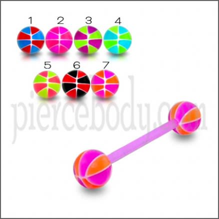 Mixed Color UV Barbell Ball Cap Stud Ear Lip Nose Eyebrow Tongue Ring
