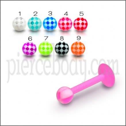 UV Lip Tounge Chin Labret With Checkered Acrylic UV Fancy Balls
