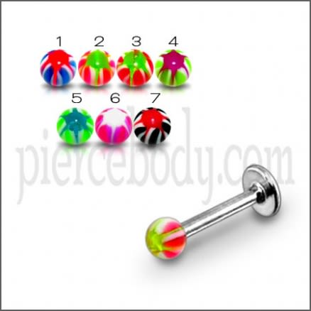 SS Labret With Fancy Acrylic UV Ball Star Print Body Jewelry