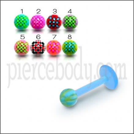 UV Labret With UV Acrylic Fancy Checkered Balls