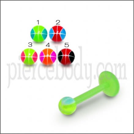Bioflex Straight Barbell with 3MM UV Multi Colored Marble Ball Piercing