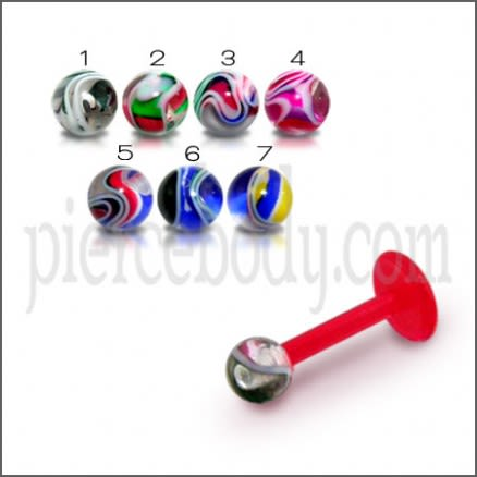 UV Lip Labret with 3MM UV Marble Shade Ball Piercing Jewelry
