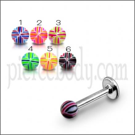 Surgical Steel Eyebrow Tongue Spiral With Fancy UV Colorful Balls