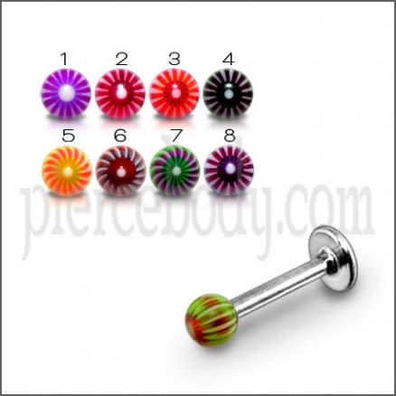 Mixed Color UV Fancy Ball Bead Lip Chin Bar Labrets Stainless Steel