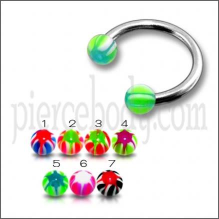SS Circular Barbells with Multicolor Star UV Balls