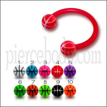 Red Bio Flexible Bar UV Ball Horseshoe Eyebrow Circular Barbell