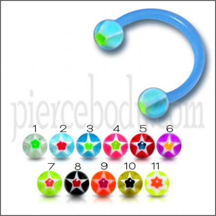 Blue UV horseshoes Glitter Ball Barbell Eyebrow Ring