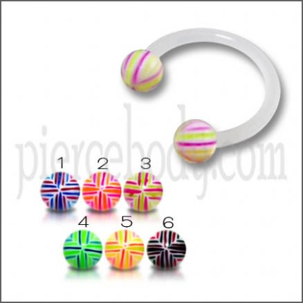 White UV Circular Barbell with Mix Line And Color UV Balls