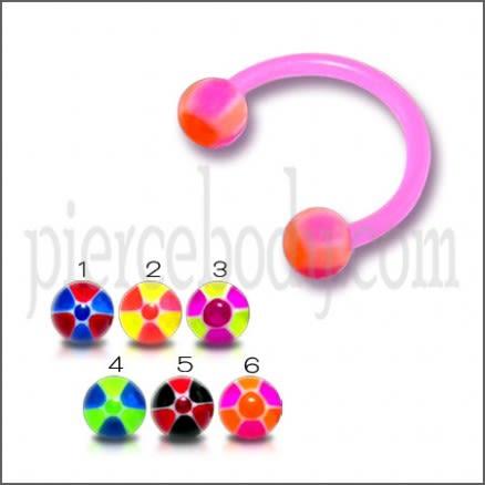 Pink UV Circular Barbell with Mix Color Checkeres UV Balls
