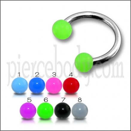 CBB Rings With Green Color Acrylic UV Balls Body Jewelry