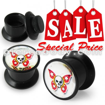 Butterfly Skull Logo With Screw Fit Ear Flesh Tunnel