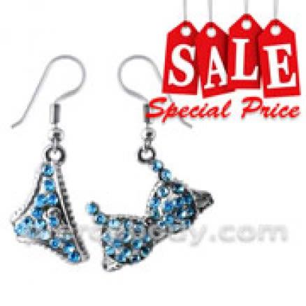 Multi Crystal Dangling BIKINI Earring