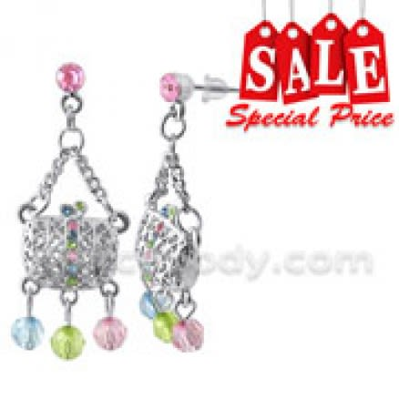 Multi Crystal Dangling Made Of Brass Costume Earring