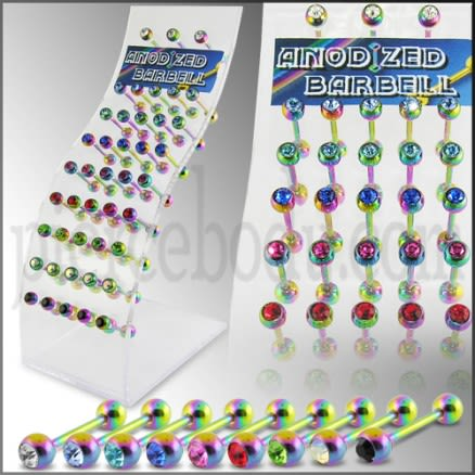 Rainbow Anodized Jeweled Barbell in a Display