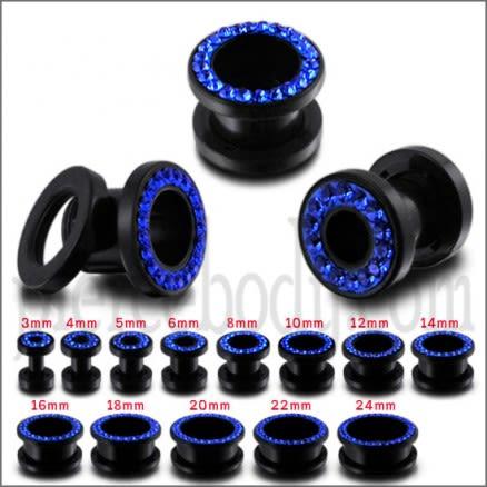 UV Ear Flesh Tunnel in Glue Setting With Dark Blue Stones