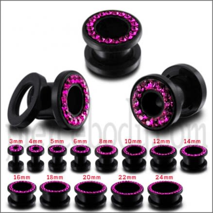UV Ear Flesh Tunnel in Glue Setting With  Fuschia Stones