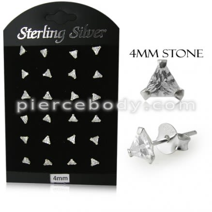 4MM CZ Triangle Ear Stud in 12 pair Tray
