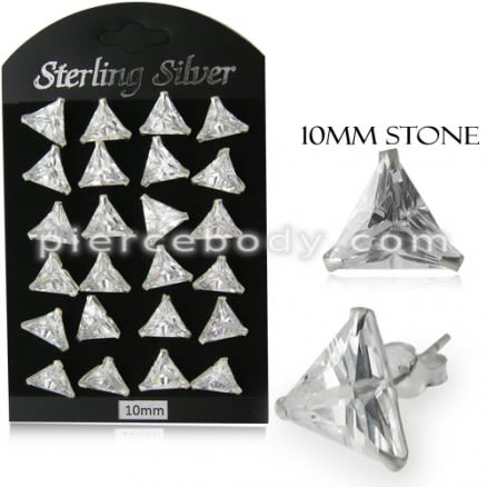 10MM CZ Triangle Ear Stud in 12 pair Tray