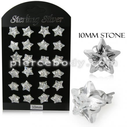 10MM CZ Star Ear Stud in 12 pair Tray