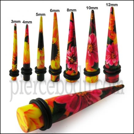 Red Abd Black Flower With Yellow Top  Straight Ear Expander Body Jewelry