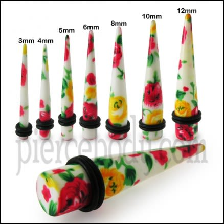 Mix Color Flower Acrylic  Ear Plugs Expander Earlets With Band