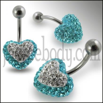 Crystal stone Heart SS Banana Bar Navel Ring FDBLY324