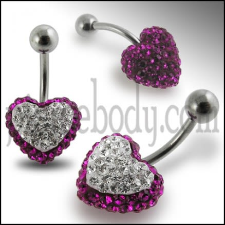 Crystal stone Heart Belly Banana Barbell Body Ring FDBLY332