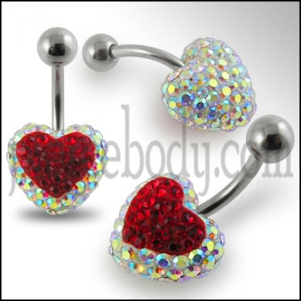 Crystal stone Red Heart Navel Body Jewelry Ring FDBLY335