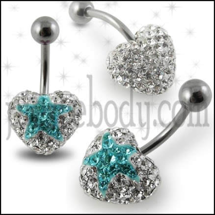 316L SS Crystal stone Star Belly Ring FDBLY353