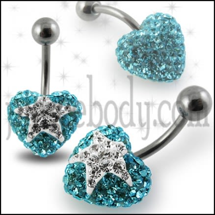 White Crystal stone Heart With Surgical Steel Curved Navel Belly Ring