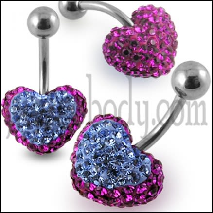Crystal stone Heart Banana Bar Belly Button Ring Body Jewelry
