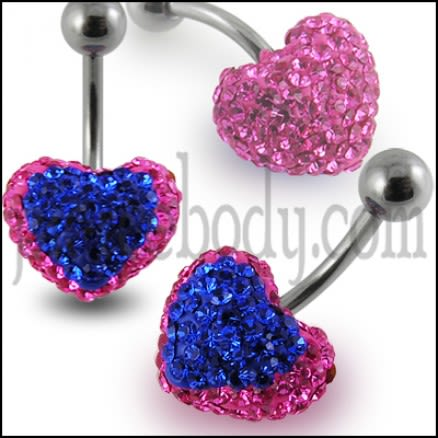 Mix Color Crystal stone Heart SS Curved Bar Belly Button Ring FDBLY374