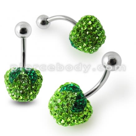 Green Apple Crystal stone Belly Ring