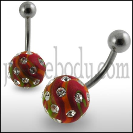 Red Color Hand Painted Crystal Ball SS Navel Ring Body Jewlery