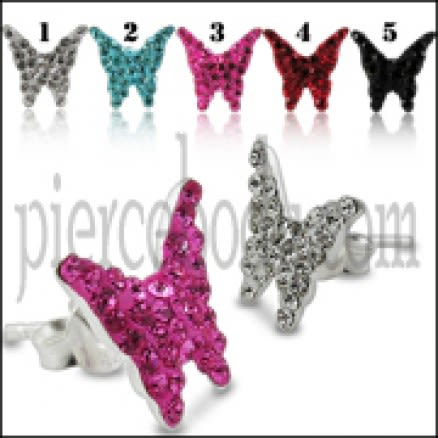 925 Sterling Silver  Crystal Butterfly Earring