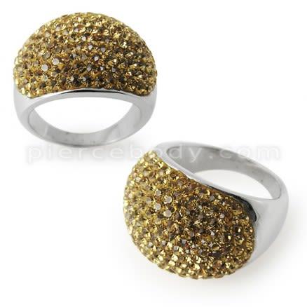 Austrian Crystal Stone Brass Finger Ring FDRG001GD
