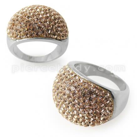 Austrian Crystal Stone Finger Ring Rhodium Platting