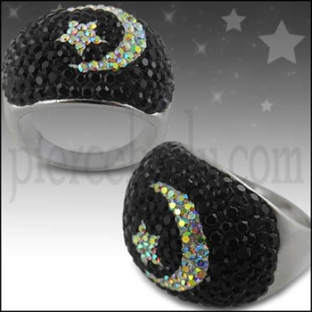 Crystal Moon Star Dome Finger Ring