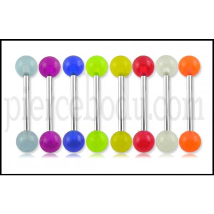 316L Surgical steel Tongue Barbells with UV Glow Balls