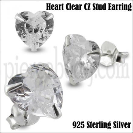 925 Sterling Silver Heart CZ Earring